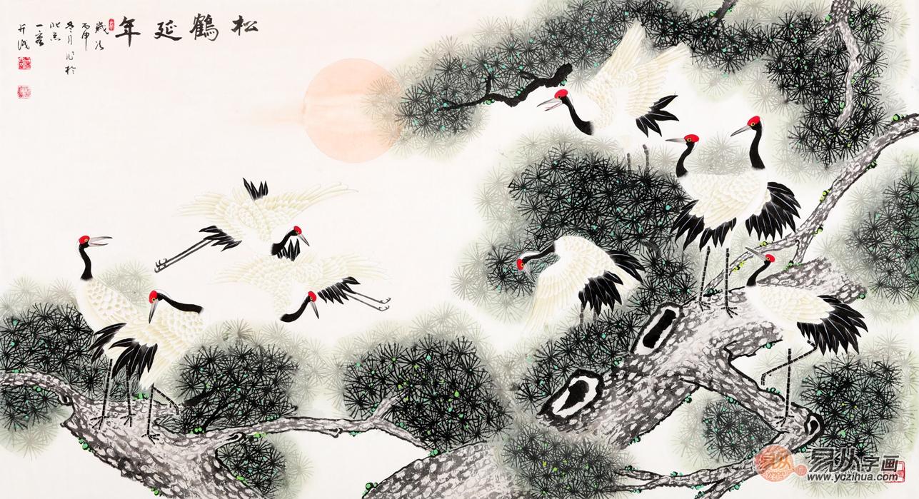 王一容工笔画松鹤图《松鹤延年》作品出自:易从网-当代花鸟名家王