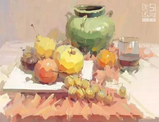 色彩| 静物组合(水果 陶罐)详细解析,这3点必看!
