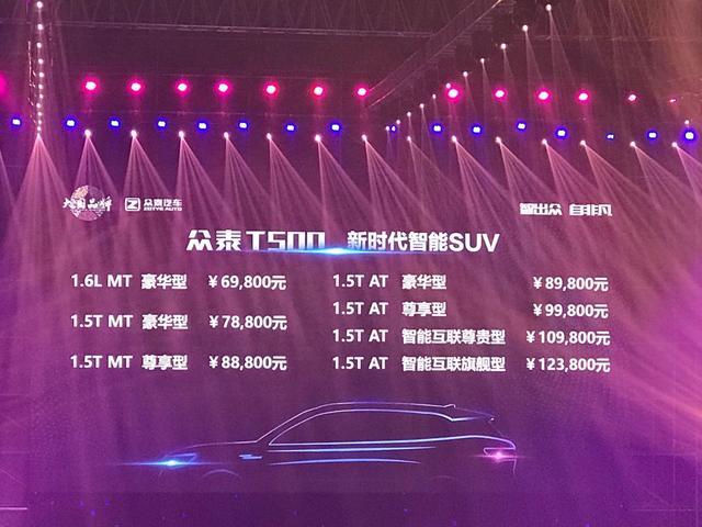 众泰T500内饰用料媲美进口,6.98万起舍我其谁?
