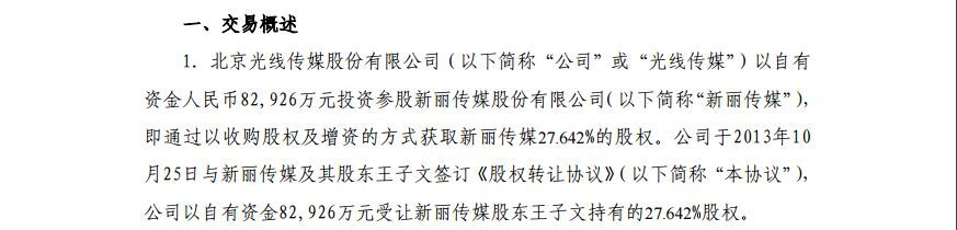 新丽传媒迎腾讯做二股东 光线传媒清仓获益300%!