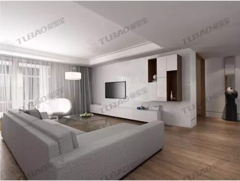 电视柜与客厅背景一体式,电视机装在墙面上,利用墙面减少空间的占用