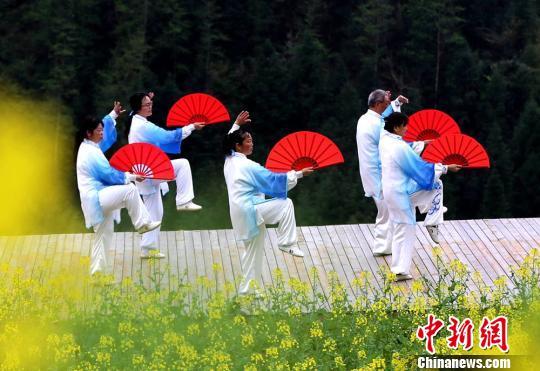 太极爱好者享受春日健身休闲乐趣。 吴勇兵 摄