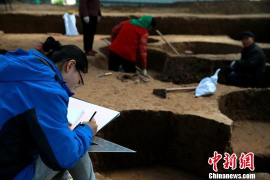 图为考古人员将出土的陶片一件件编号登记。 梁�� 摄