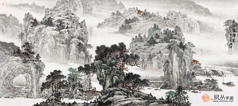 林德坤(精品)手绘原创山水画《春山隐禅意》