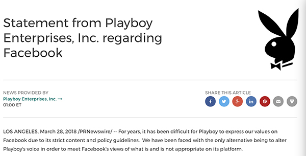 Playboy delete Facebook announced the official homepage: values are different