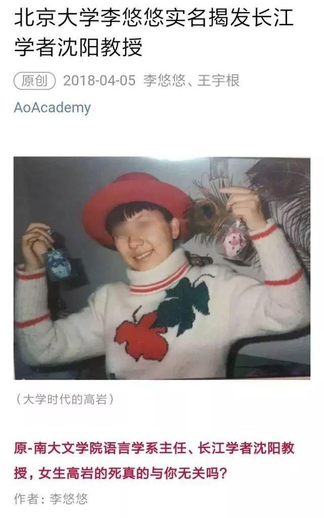 """北大时任系主任:沈阳曾承认与高岩有过""""男女关系"""""""