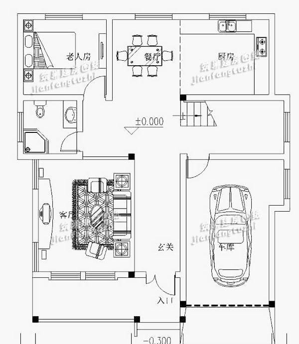农村三层自建房设计图平面图,14.8x15.2米,卧室多