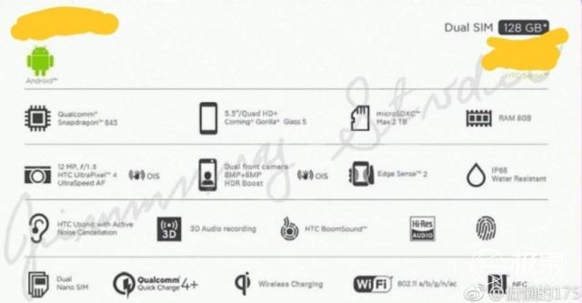 HTCU12配置曝光:骁龙845、8G内存、前置双摄,没有刘海屏