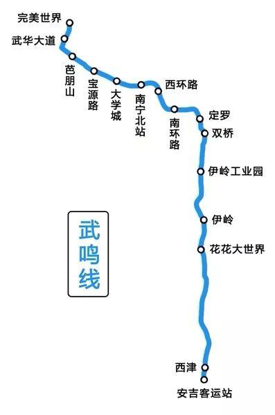 未来地铁 轻轨 2020 南宁二号线延长线 武鸣线 起始站为安吉客运站