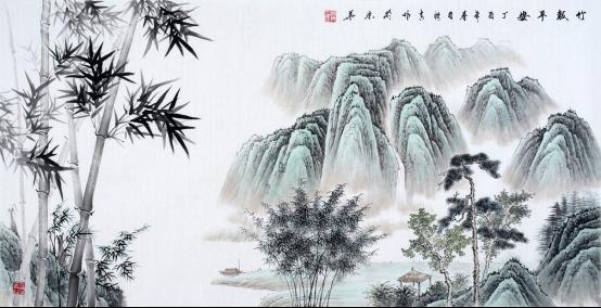 当代擅长画竹子的画家 刘海青竹石国画赏析图片