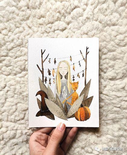 手绘丨她用水彩画出超治愈的森系猫咪,扑面而来的小