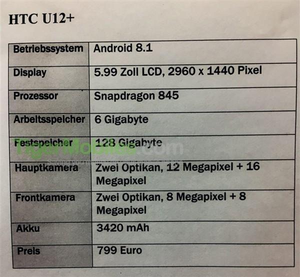 HTC U12+配置过硬 发布时间5月底或6月