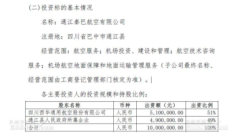 投资510万!西华航空拟成立子公司拓展业务