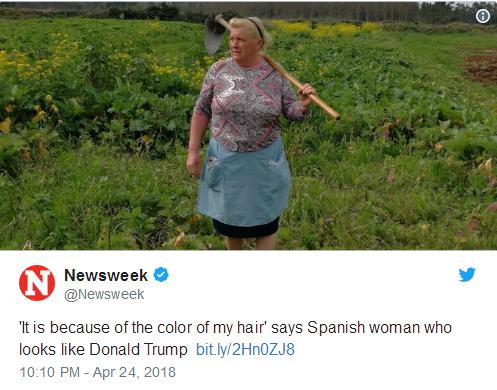 长得太像特朗普 西班牙一女子照片网络疯传