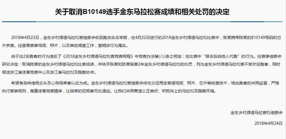 关于取消B10149选手金东马拉松赛成绩和相关处罚的决定