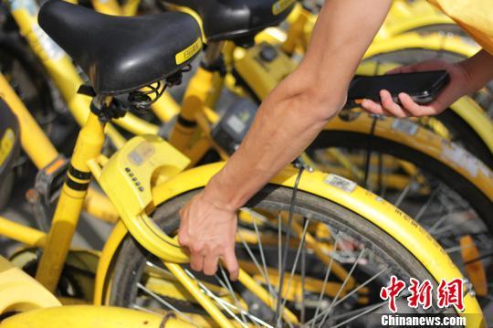 王波说,每个人都爱护共享单车是他最大的心愿。 钟欣 摄