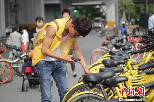 25岁的王波因为喜欢共享单车,加入了巡检维修队伍,每日在西南财经大学附近巡检、调度、回收车辆。 钟欣 摄