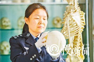 王灿看着一个颅骨模型教具。真正的颅骨里有丰富的信息,比如死者的性别,南方还是北方人等。