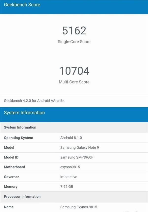 这就是三星Note 9性能表现?苹果A11不是敌手