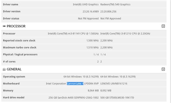 第二款Intel 10nm处理器现身:1.5GHz 8代Core