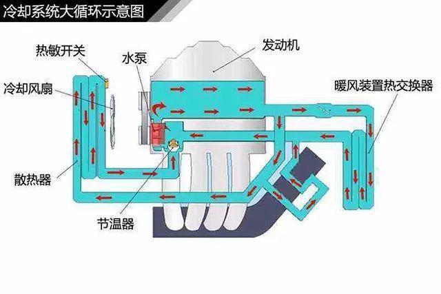 散热器下水管连接到发动机的入水处,入水处连接着节温器.