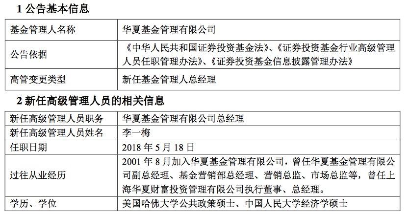总经理上任欢迎词_李一梅正式上任华夏基金总经理,接棒汤晓东成第四代掌门人