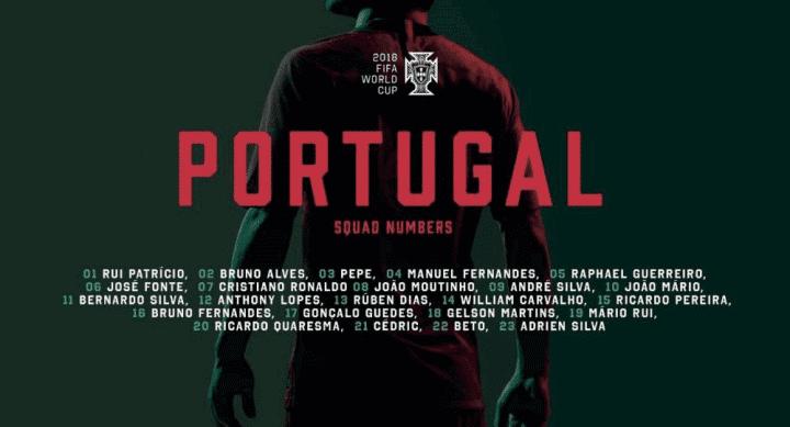 葡萄牙世界杯号码公布:C罗7号 10号易主马里奥