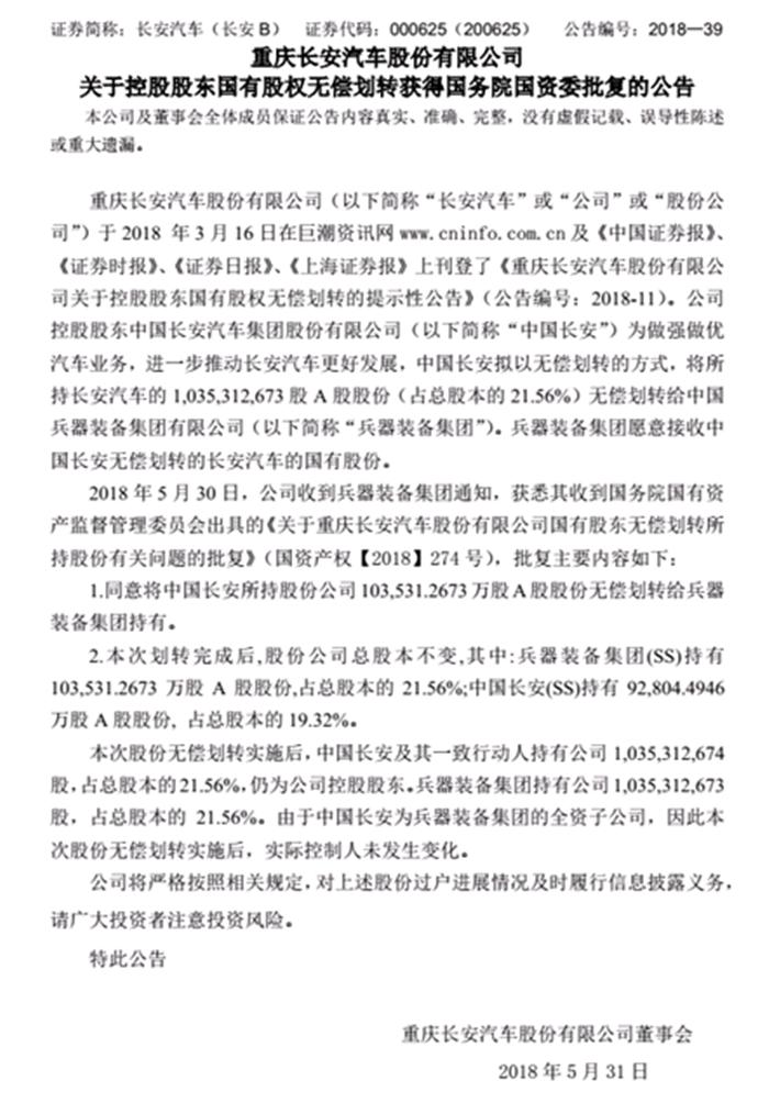 长安汽车无偿划拨股权至兵工集团 这是要合并国家队的节奏吗?