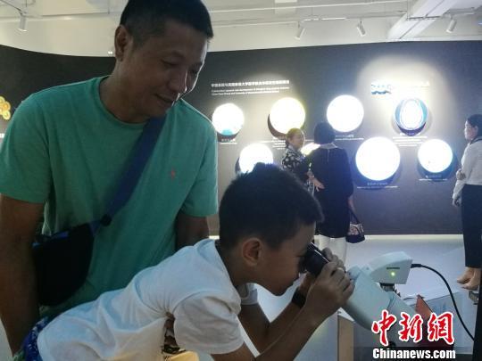 小朋友在家长陪同下通过显微镜观察细胞结构 王凤白 摄