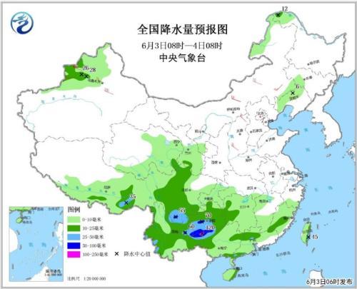 全国降水量预报图(6月3日08时-4日08时)