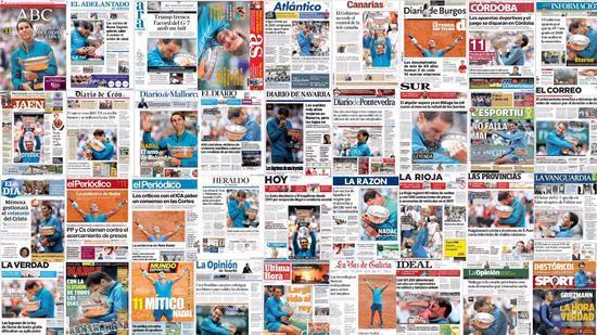 纳神霸屏!法网夺冠上38家媒体头条+皇马打CALL