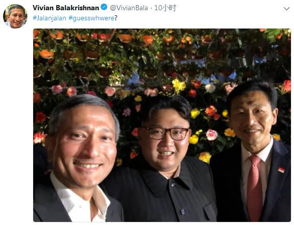 外媒:金正恩与新加坡部长们在花园自拍合影