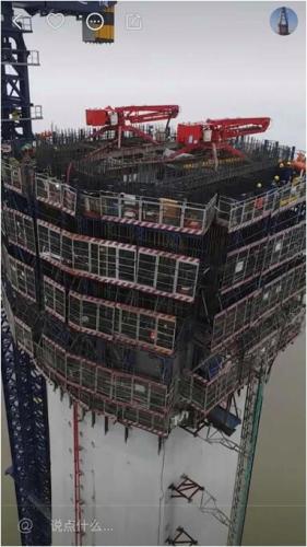 建设者们用快手记录了沪通长江大桥桥墩施工的全过程