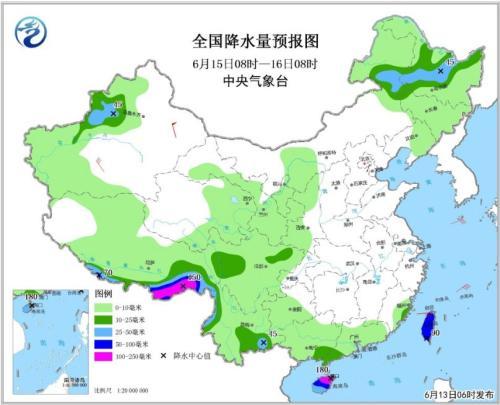 全国降水量预报图(6月15日08时-16日08时)