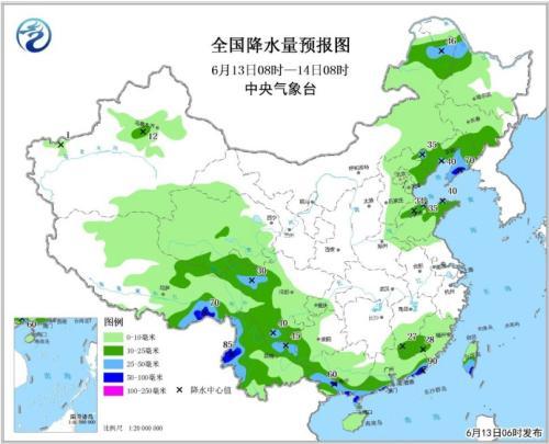 全国降水量预报图(6月13日08时-14日08时)
