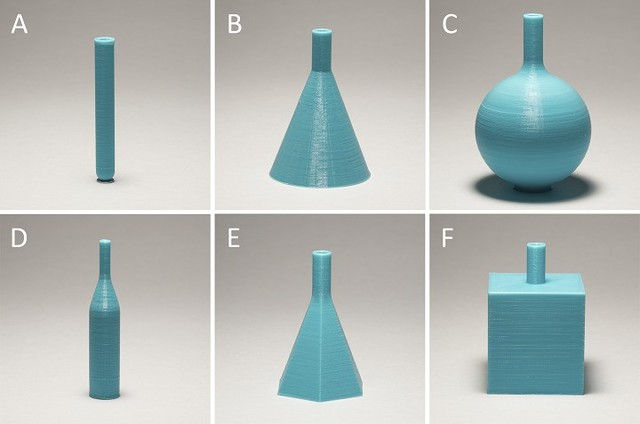 (a)圆柱体,(b)圆锥体,(c)球体,(d)加入的圆柱体/圆锥体