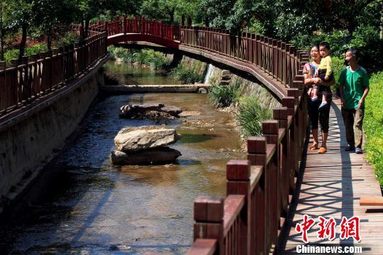 6月16日,闽北顺昌县洋墩乡洪地村村民在溪边木栈道上漫步。 乐细巾 摄