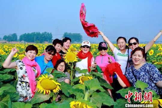 游人五颜六色的服装给花海中绿色的叶片、黄色的花瓣增添了另一番景致。 张建设 摄