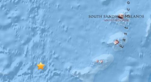 位于南大西洋南部的南桑威奇群岛南部海域发生5.7级地震。(图片来源:美国地质勘探局网站截图)