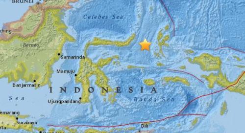 印尼发生5.4级地震。(图片来源:美国地质勘探局网站截图)