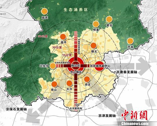 北京市域空间结构规划图.资料图