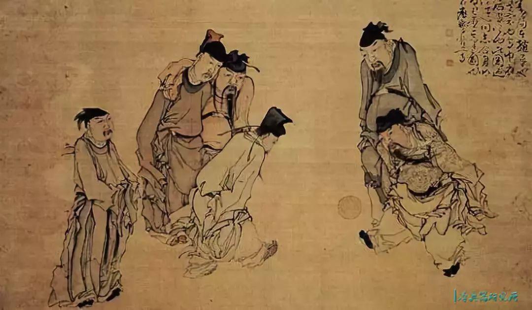 ▲清代黄慎《蹴鞠图》,描绘了宋太祖与宋太宗蹴鞠