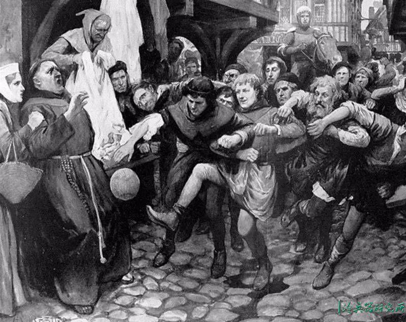 ▲中世纪时的英国足球