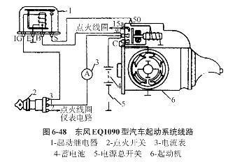 启动发动机时,通过启动继电器和电磁开关接通蓄电池和启动机电路