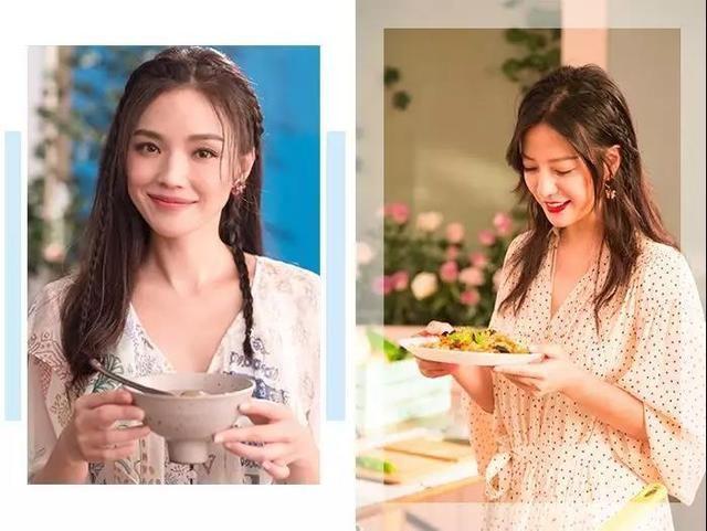 微博上看到了《中餐厅》的宣传照,赵薇和舒淇的侧编发太少女了,减龄效