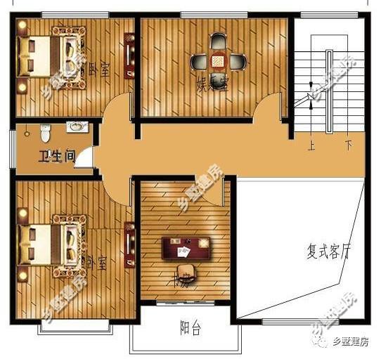 一层平面设计图:一楼一间卧室,进门玄关右边是客厅,里边是餐厅和厨房