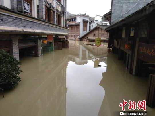 图为洪水涌进铜梁安居镇。 陈钢 摄