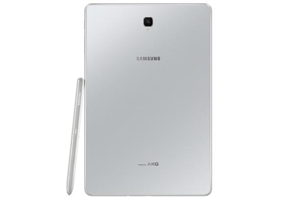 三星Galaxy Tab S4银色外观:背部AKG标志