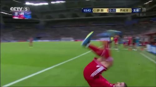 """穆罕默迪的""""表演""""时刻。图片来源:比赛视频截图。"""