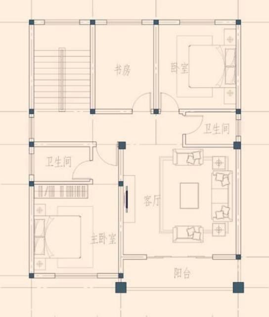 自建房设计图,开间9米,进深13米,一楼一间老人房,一间车库 宽544×641
